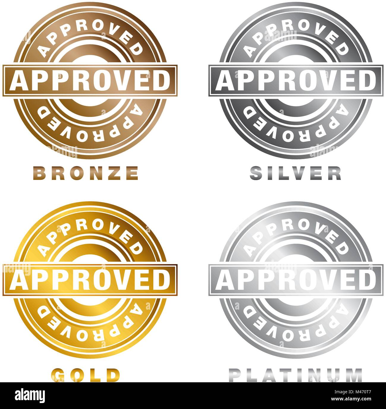 An Image Of A Bronze Silver Gold Platinum Approved Stamp Seal Of