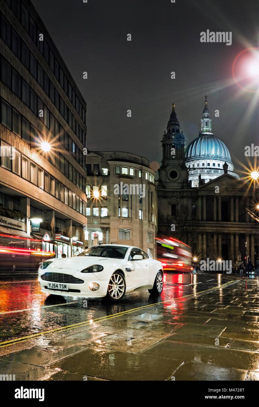 2004 Aston Martin Vanquish in the City of London UK - Stock Image