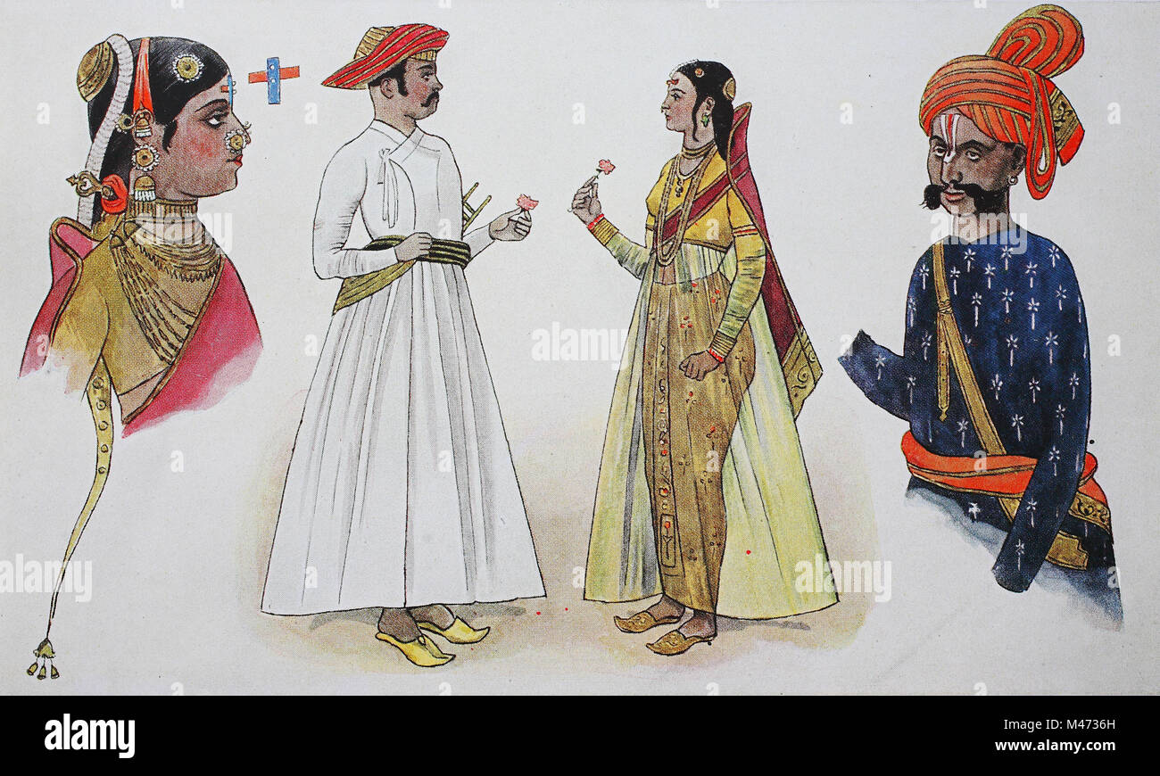 Clothes Fashion In India From 1600 1800 From The Left A Woman From A Rich House Then A Mohammedan Indian With A Wife And A Rajput Warrior Digital Improved Reproduction From An Original