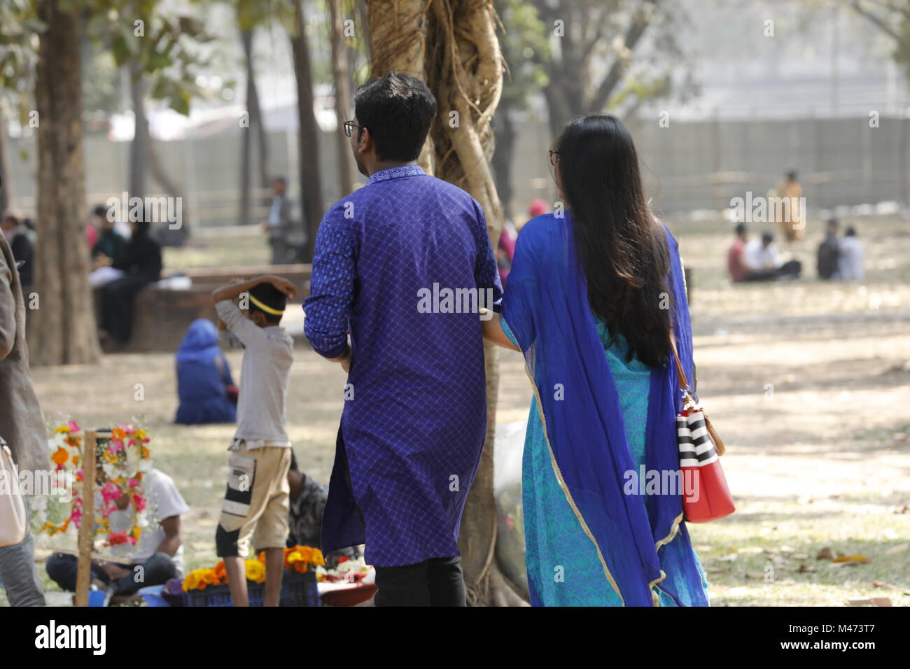 Dhaka bangladesh february 14 2018 bangladeshi couple in a park to celebrate valentines day in dhaka on february 14 2018 valentines day also called