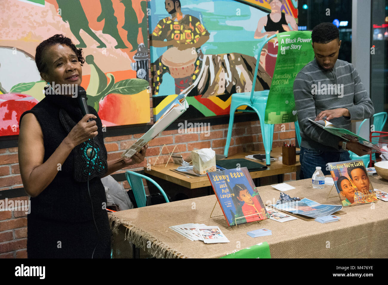 New York, USA. 13th February, 2018. Irene Smalls, African-American storyteller and author of children's books, - Stock Image