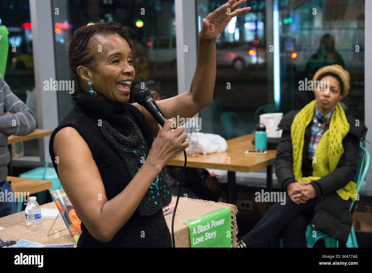 New York, USA. 13th February, 2018. Ms. Smalls talks about African-American history and children's literature. - Stock Image