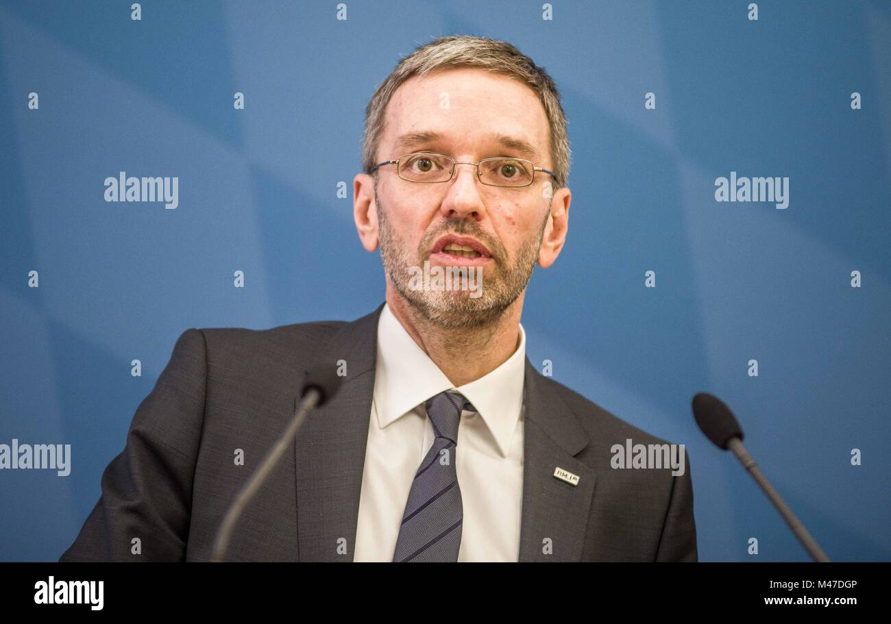Munich, Bavaria, Germany. 15th Feb, 2018. Herbert Kickl of Austria's extreme-right co-ruling party the FPÃ- arrived Stock Photo