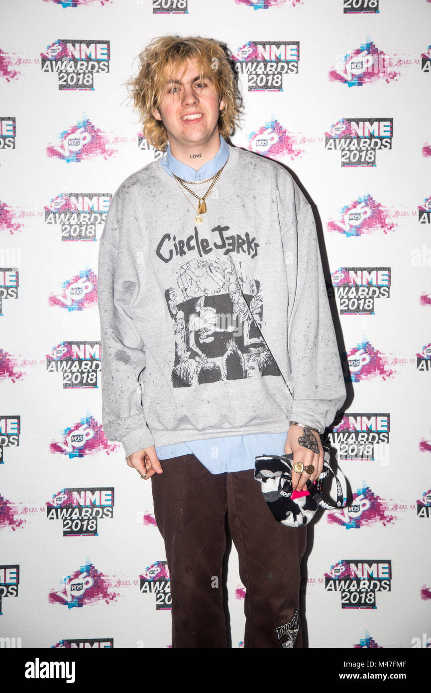 London, UK. 14th Feb, 2018. Rat Boy arrives at the VO5 NME Awards 2018 at London's O2 Brixton Academy. Credit: Tom - Stock Image