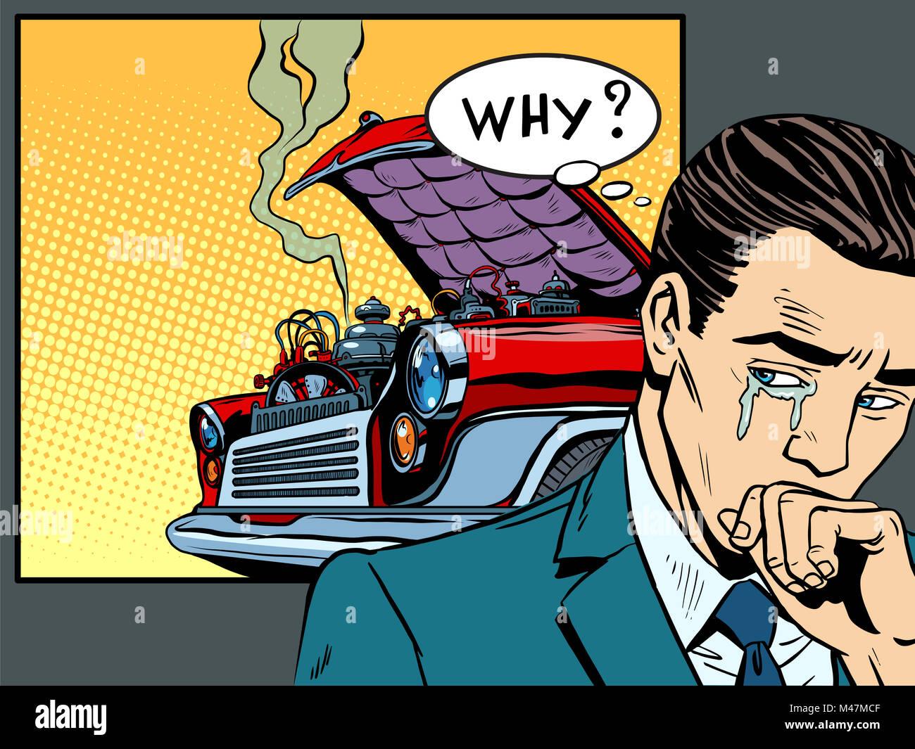 man weeps car broke down - Stock Image
