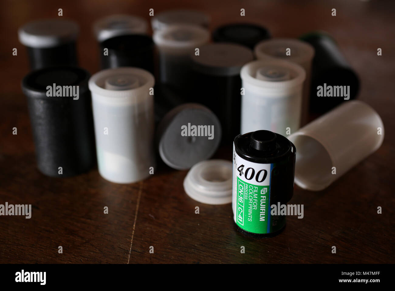 General views of an old Fujifilm 35mm 400 iso film on a table in a studio in Chichester, West Sussex, UK. - Stock Image