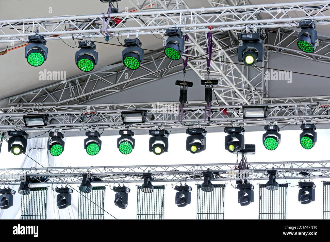 Lighting equipment of outdoor stage stock photo 174732460 alamy lighting equipment of outdoor stage workwithnaturefo