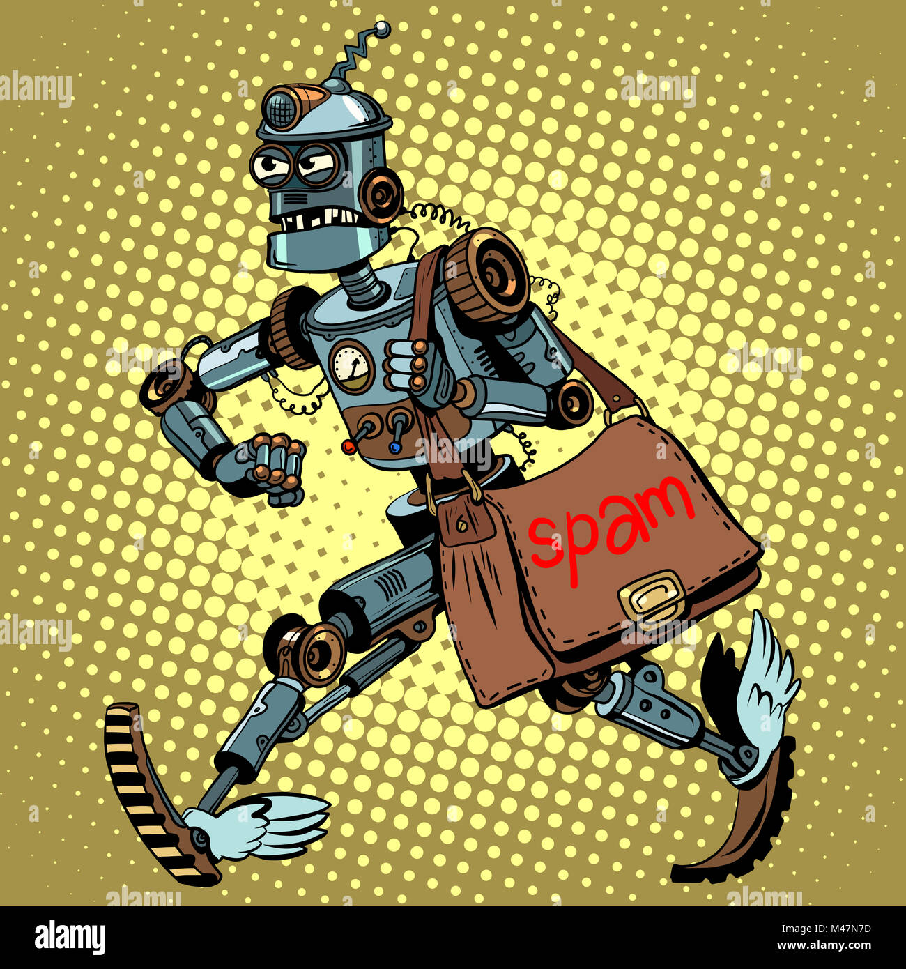 Electronic spam robot postman email - Stock Image