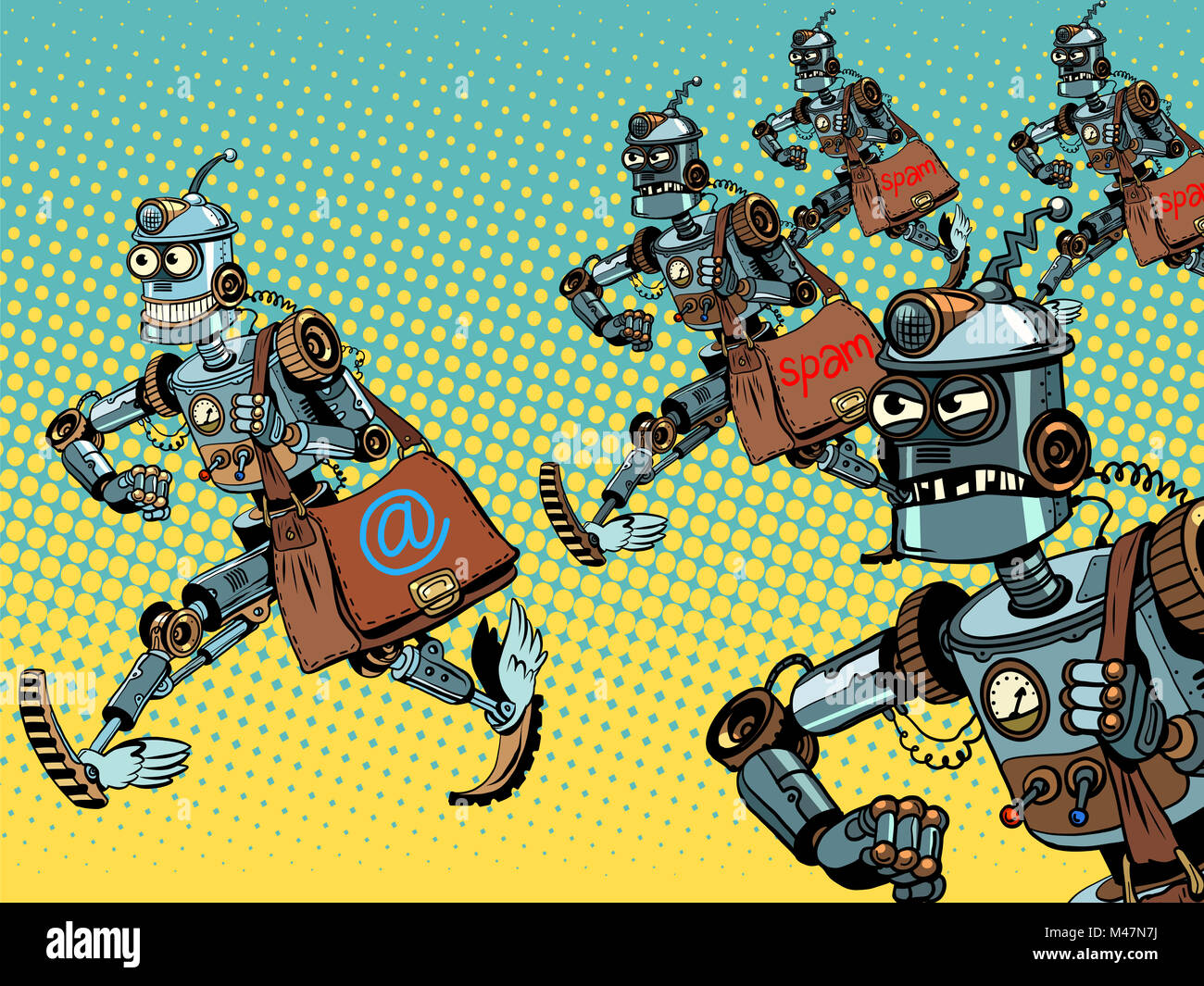 Robot mailman e-mail campaigns - Stock Image