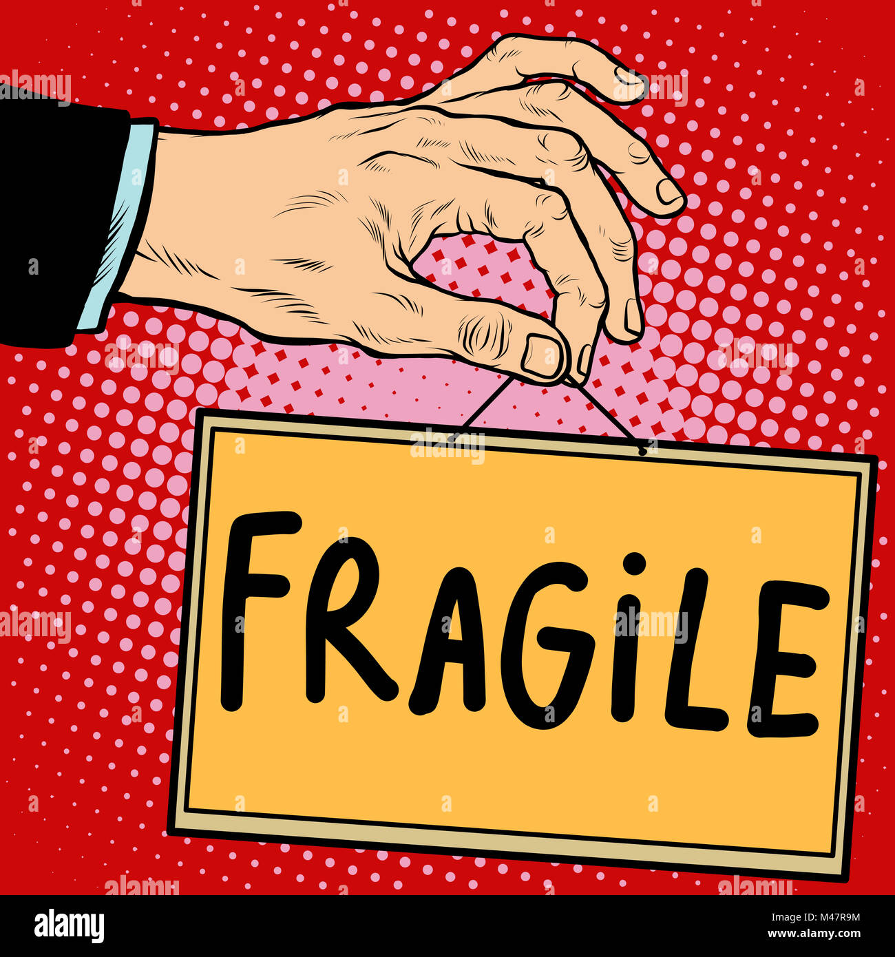 Hand sign fragile - Stock Image