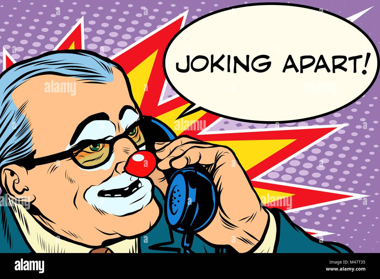 evil clown boss joking apart - Stock Image