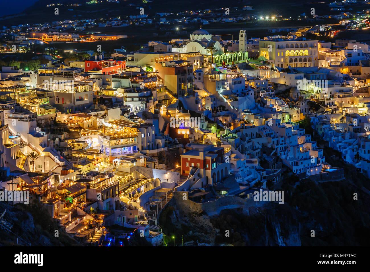 Fira luxury decks and patios at night Stock Photo