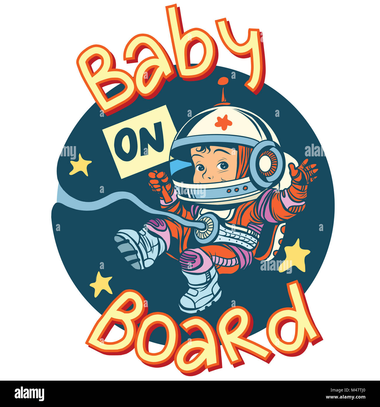 Baby on Board sign pregnancy cosmonaut - Stock Image