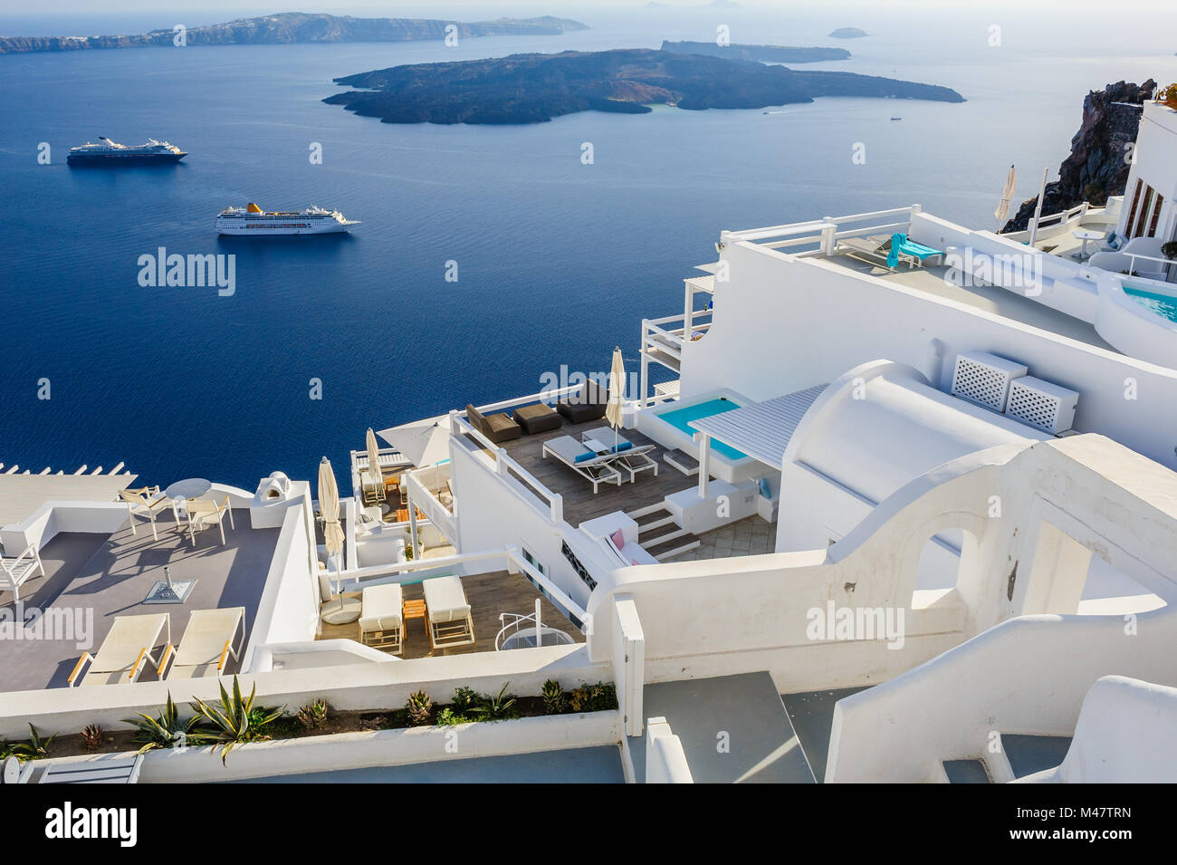 Oia luxury decks and patios - Stock Image