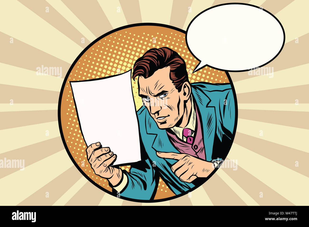 Male reminder white sheet of paper - Stock Image