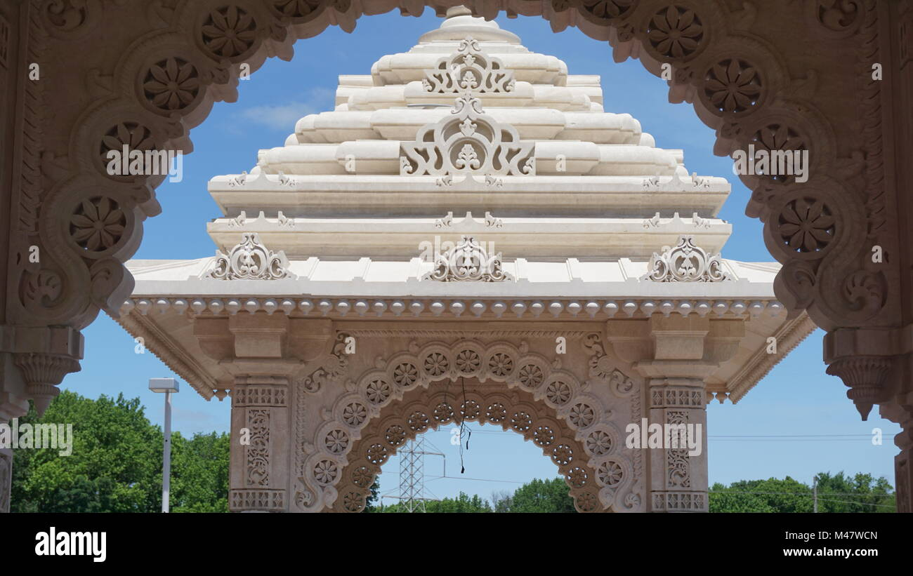 The Akshardham temple in Robbinsville, New Jersey - Stock Image