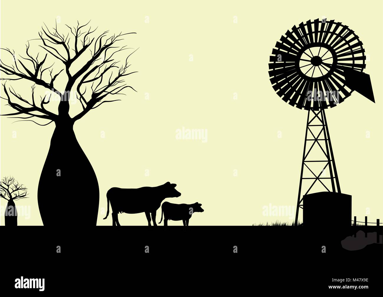 wind mill  boab trees and cows silhouette with yellow background - Stock Vector
