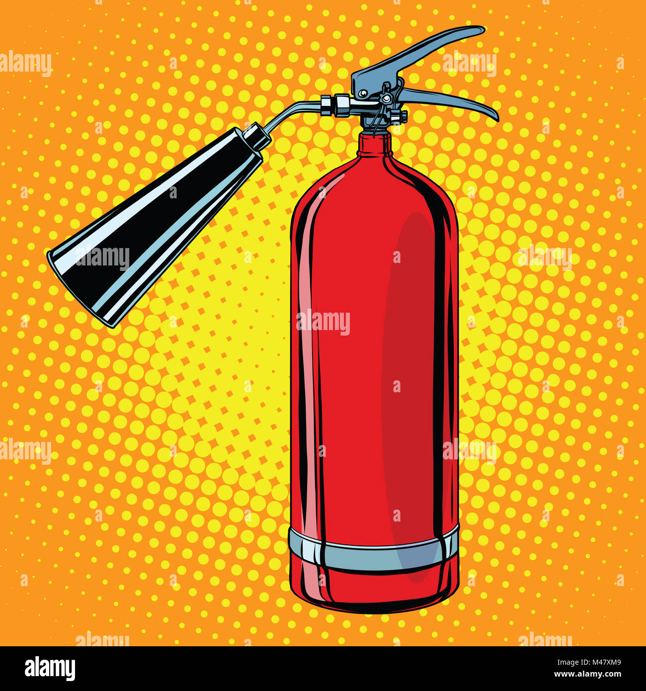 realistic red fire extinguisher pop art - Stock Image