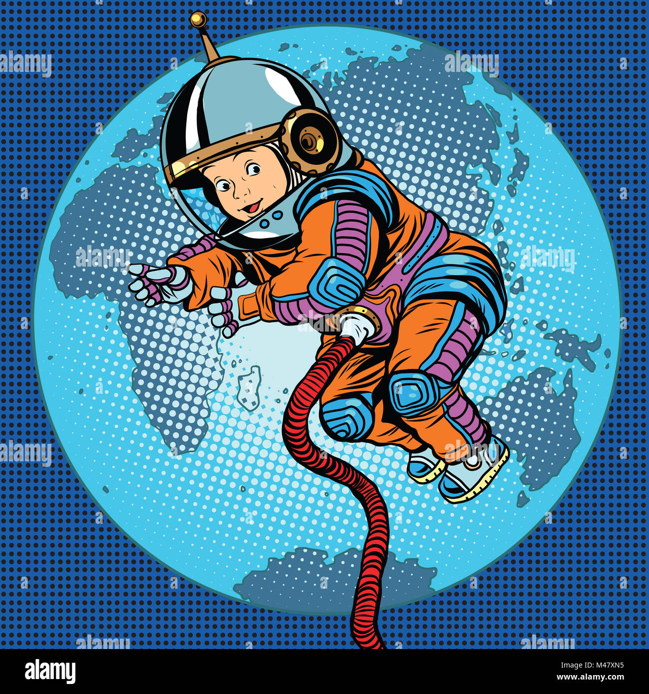 Astronaut baby Earth space - Stock Image