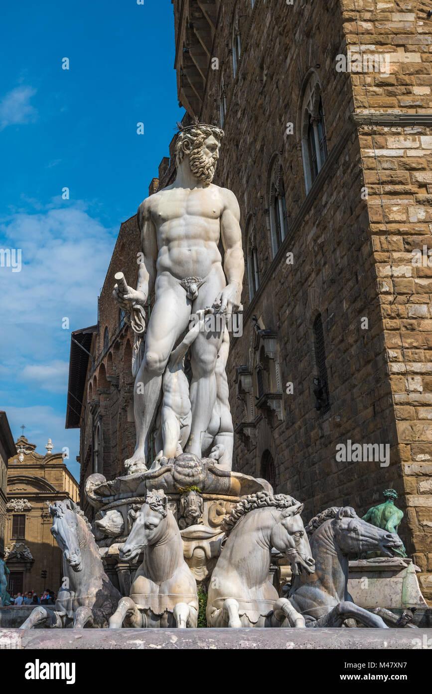 Fountain of Neptune on Piazza della Signoria in Florence - Stock Image