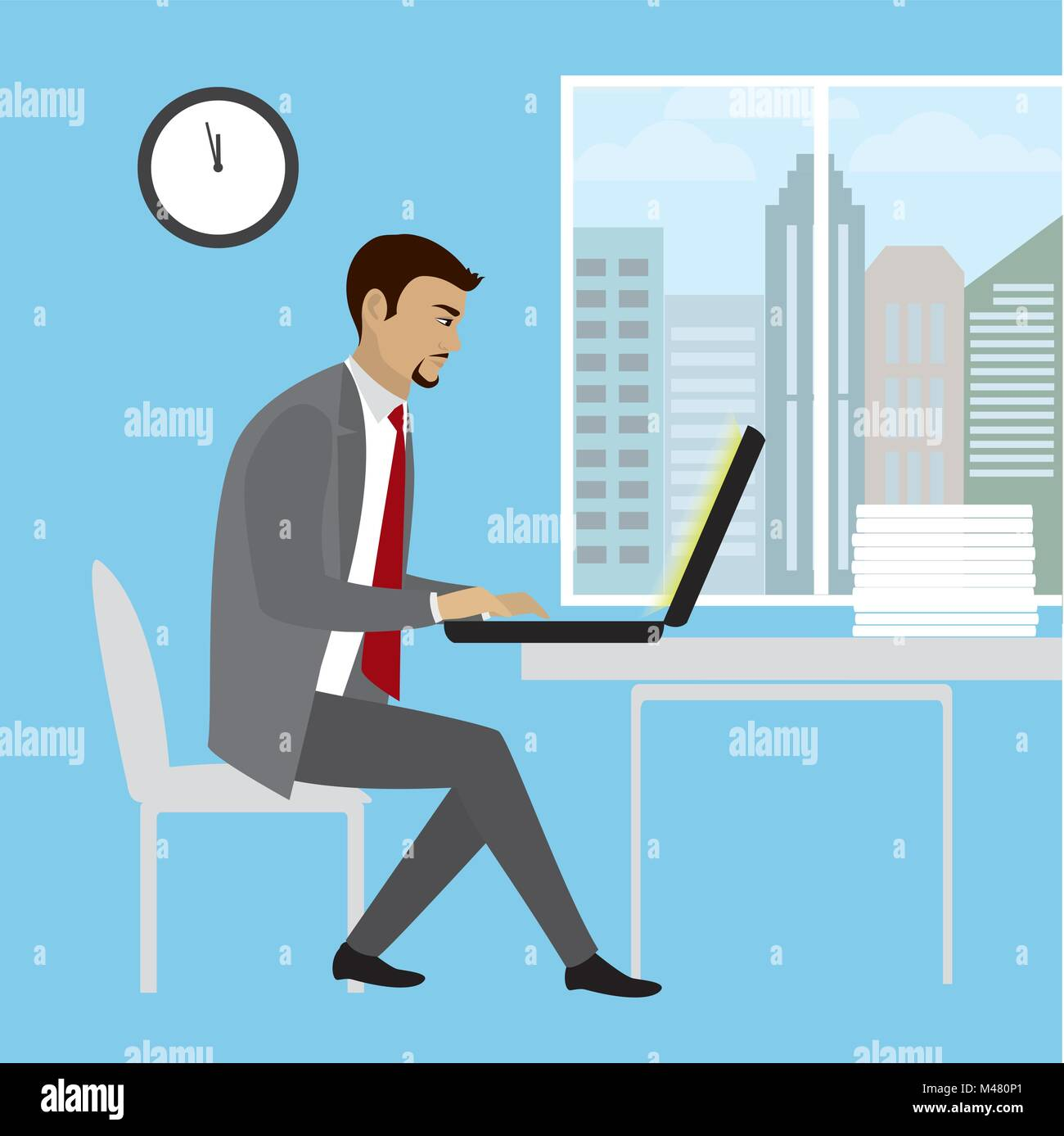 Office Worker Or Businessman Working On Laptop Computer Cartoon Stock Vector Image Art Alamy