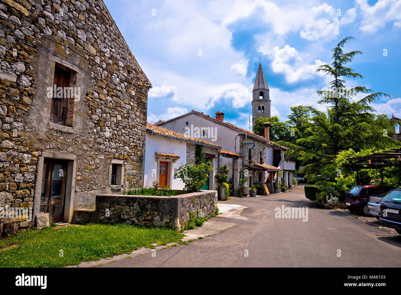 Stone village of Roc main street view - Stock Image