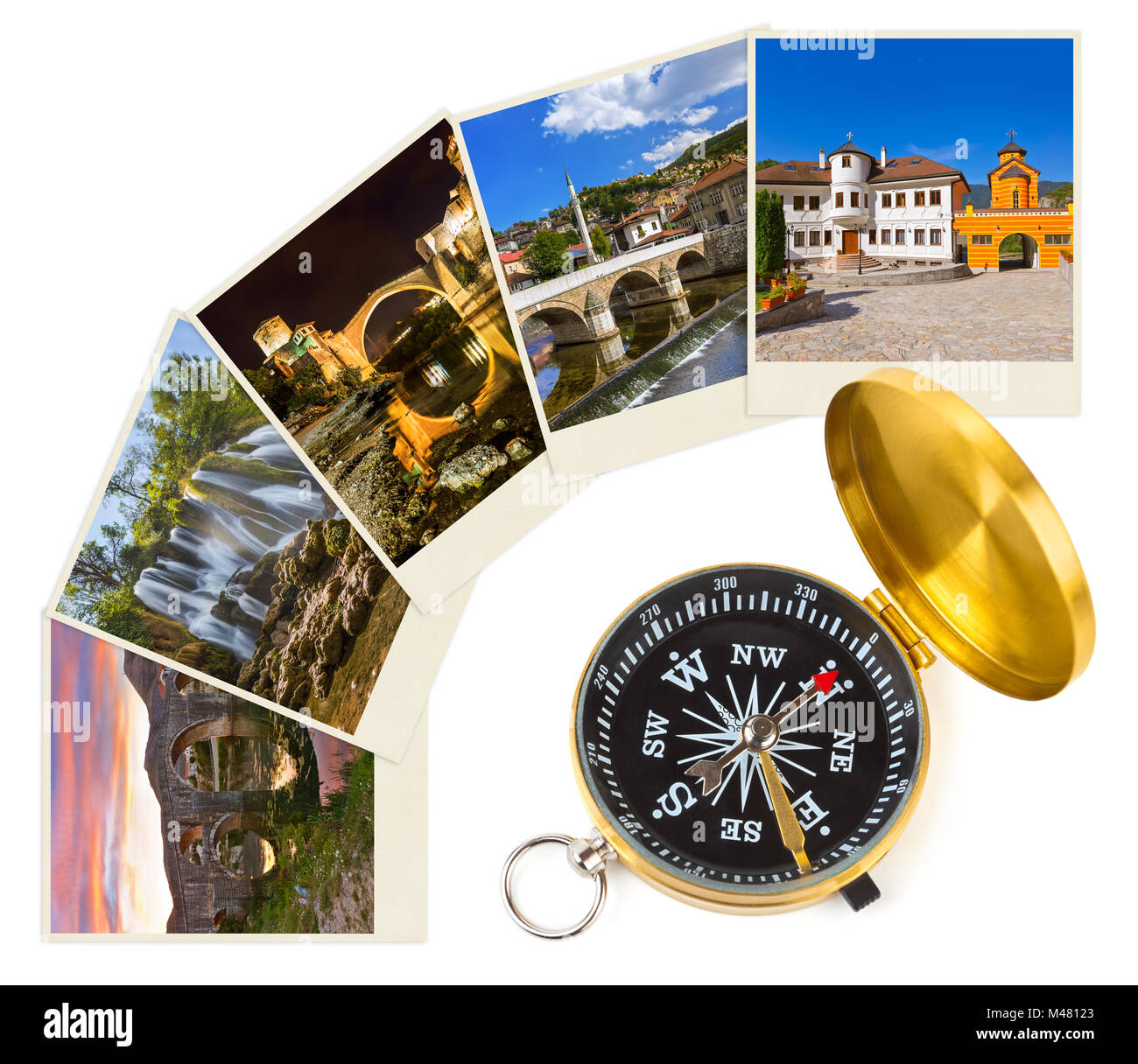 Bosnia and Herzegovina travel images (my photos) and compass - Stock Image