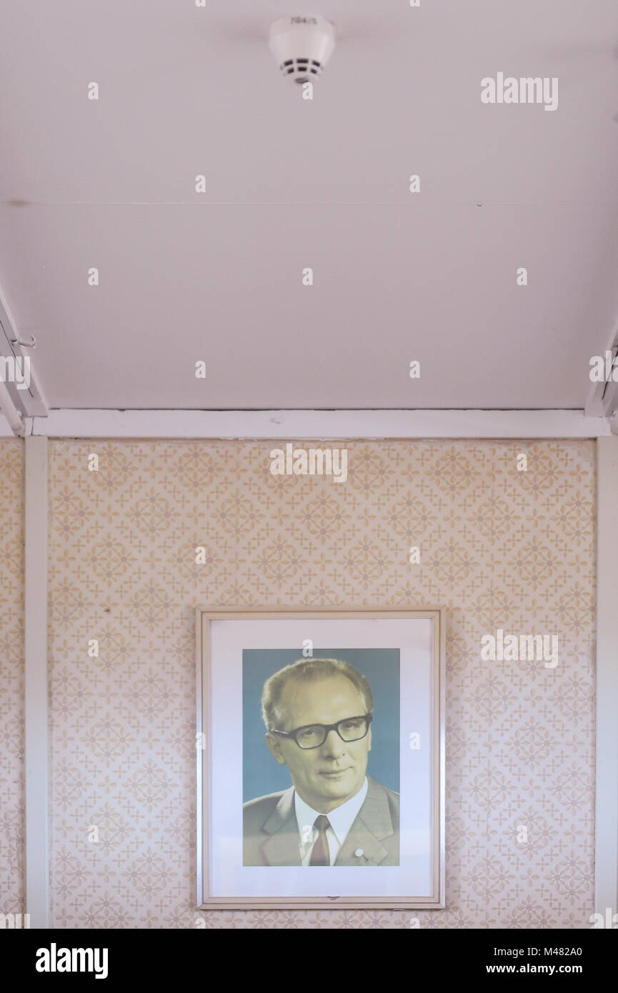 Exhibition with official portrait of Erich Honecker, East German General Secretary of the Central Committee of the - Stock Image