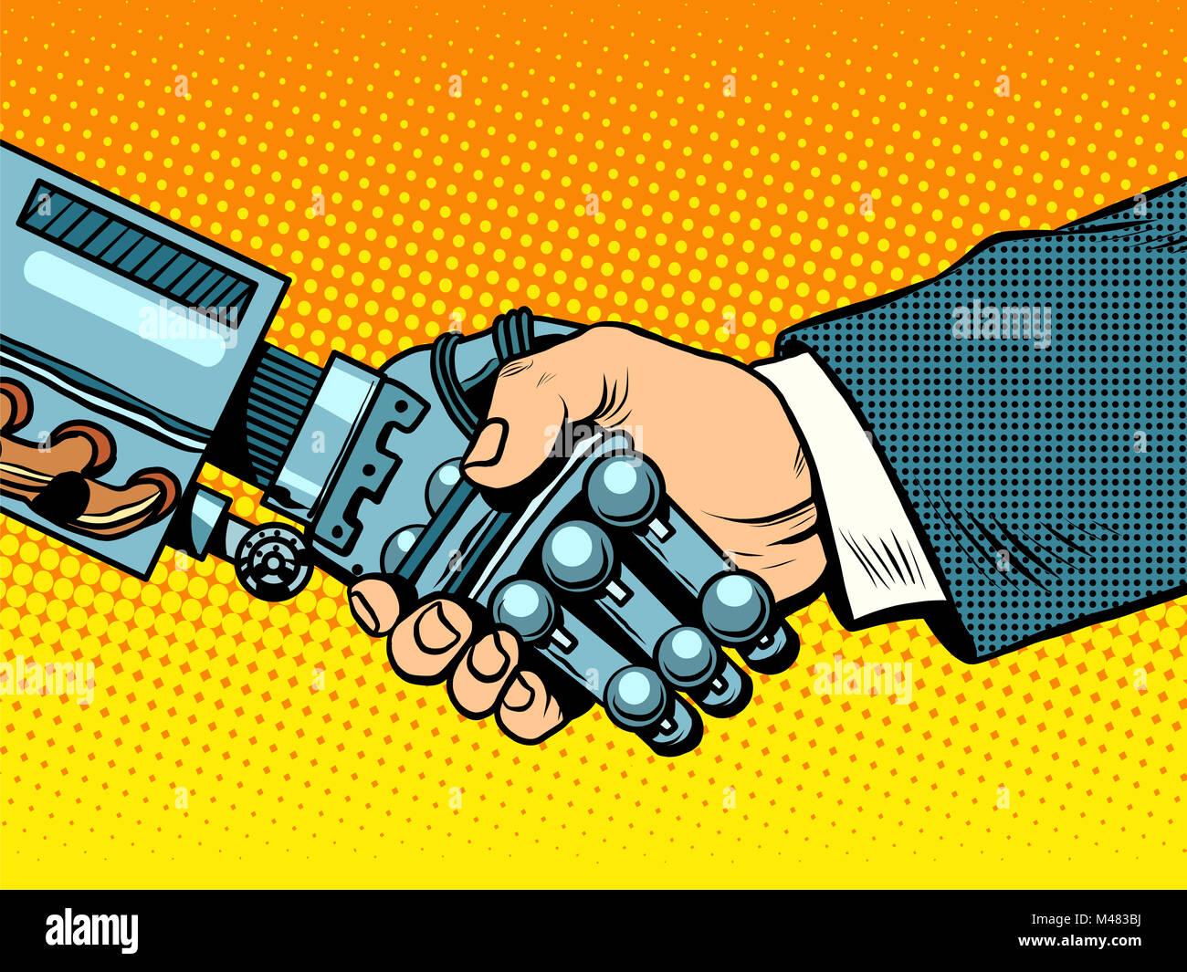 Handshake of robot and man. New technologies evolution - Stock Image