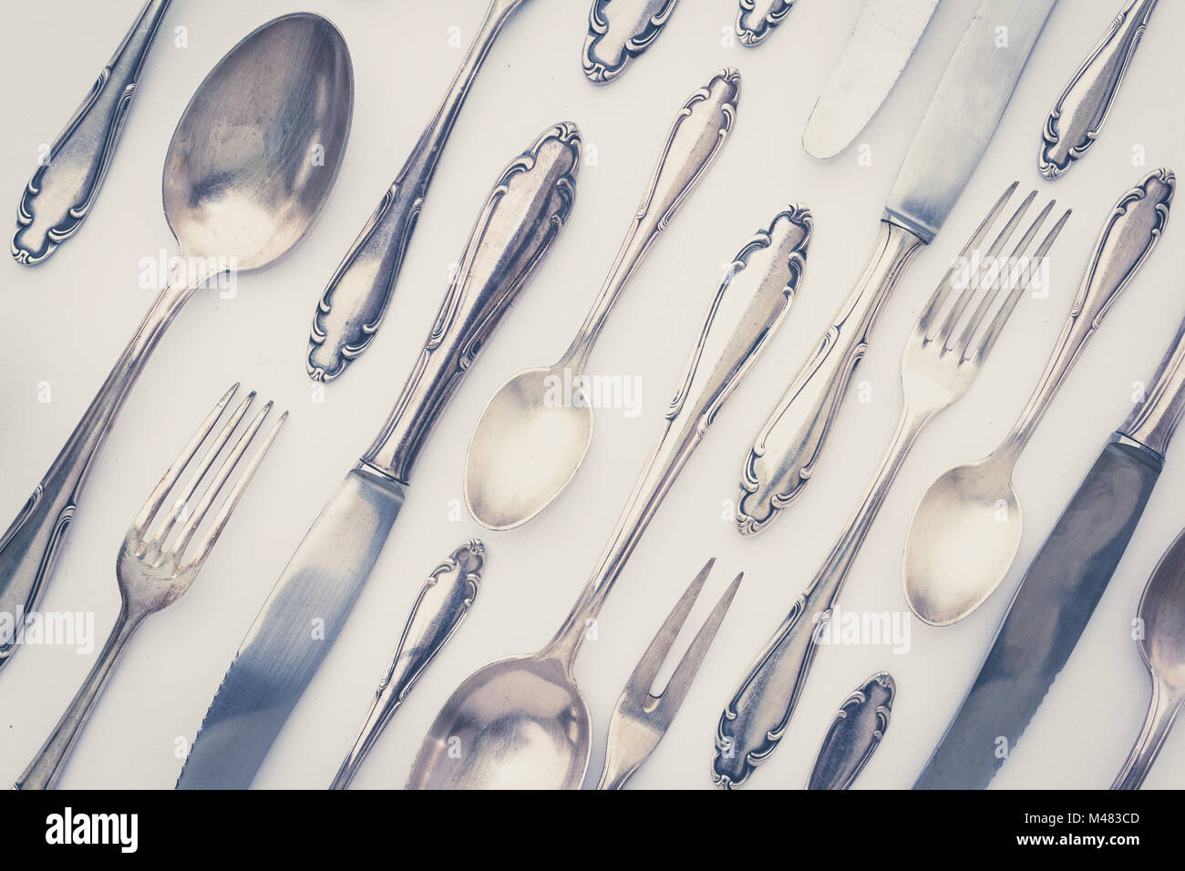 beautiful old silver cutlery - vintage style filter & beautiful old silver cutlery - vintage style filter Stock Photo ...