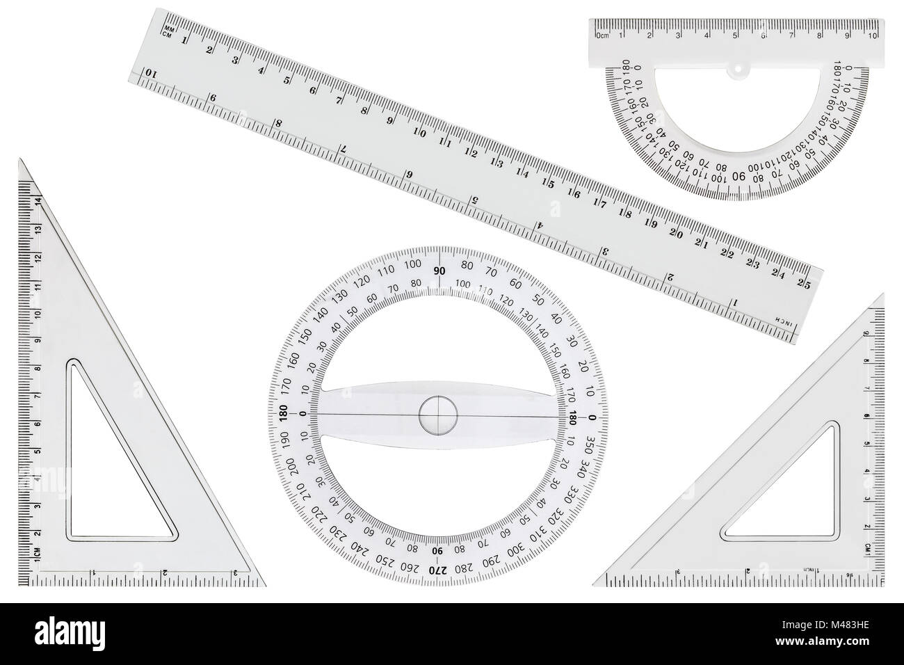 Set of white transparent rulers, isolated on white background - Stock Image