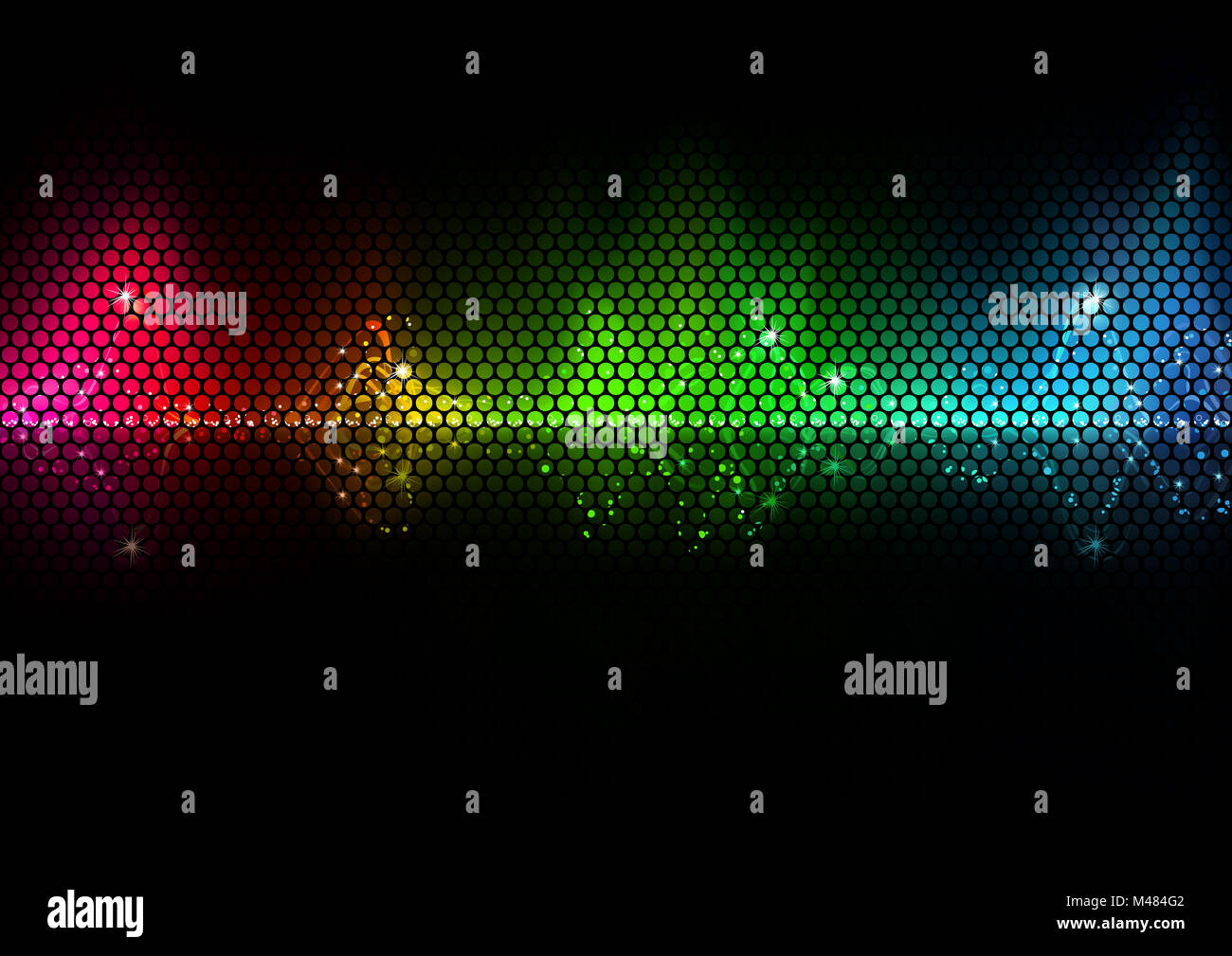 Colorful Audio Wave and Wire Mesh Stock Photo