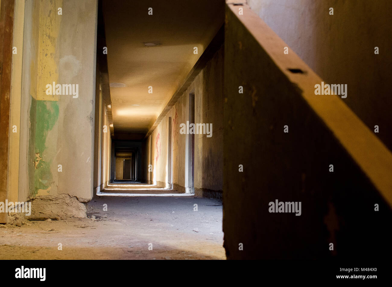 The Mystery of Abandoned Hotel - Stock Image