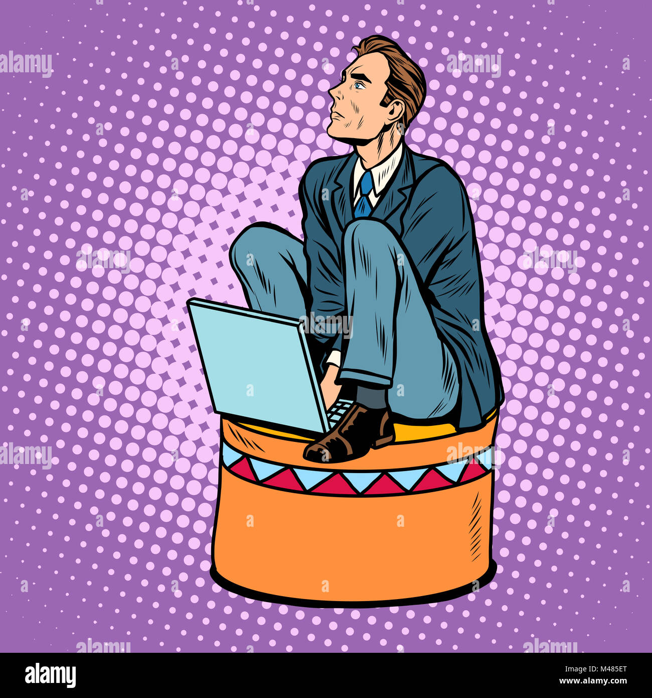Businessman worker on a circus pedestal - Stock Image