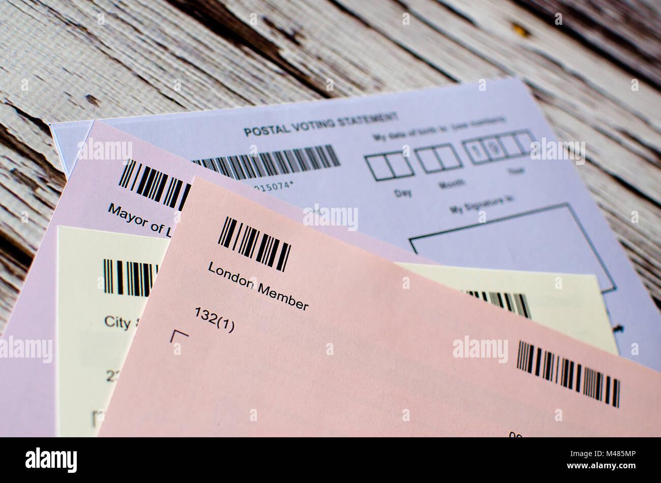 postal voting London UK - Stock Image