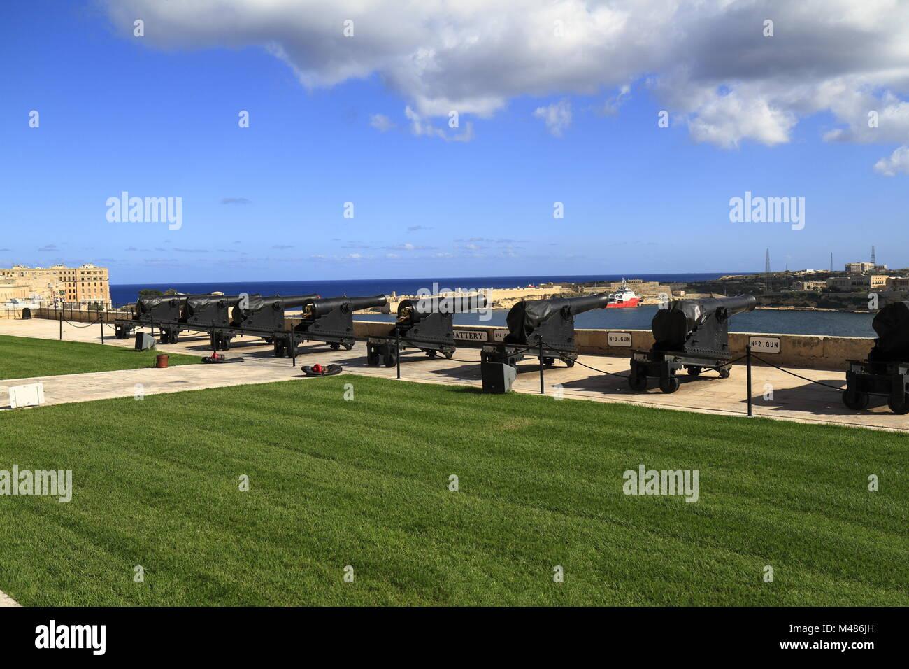 Gun Fire of saluting Lascaris Battery in Valletta, Malta - Stock Image