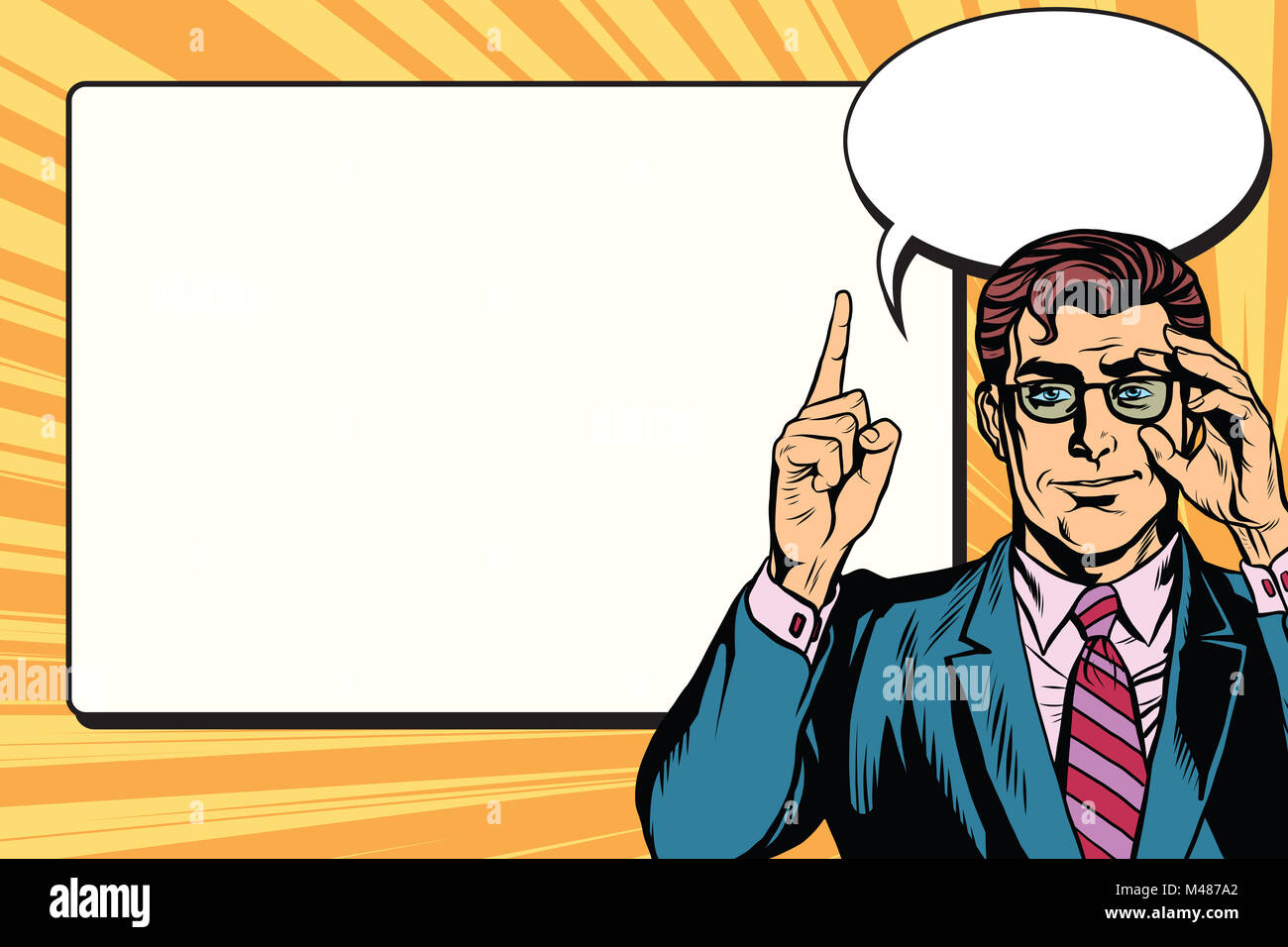 Pop art businessman with frame for text - Stock Image