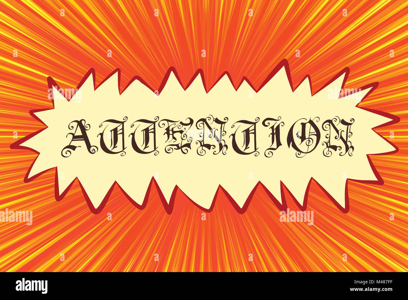 Attention Gothic font lettering - Stock Image