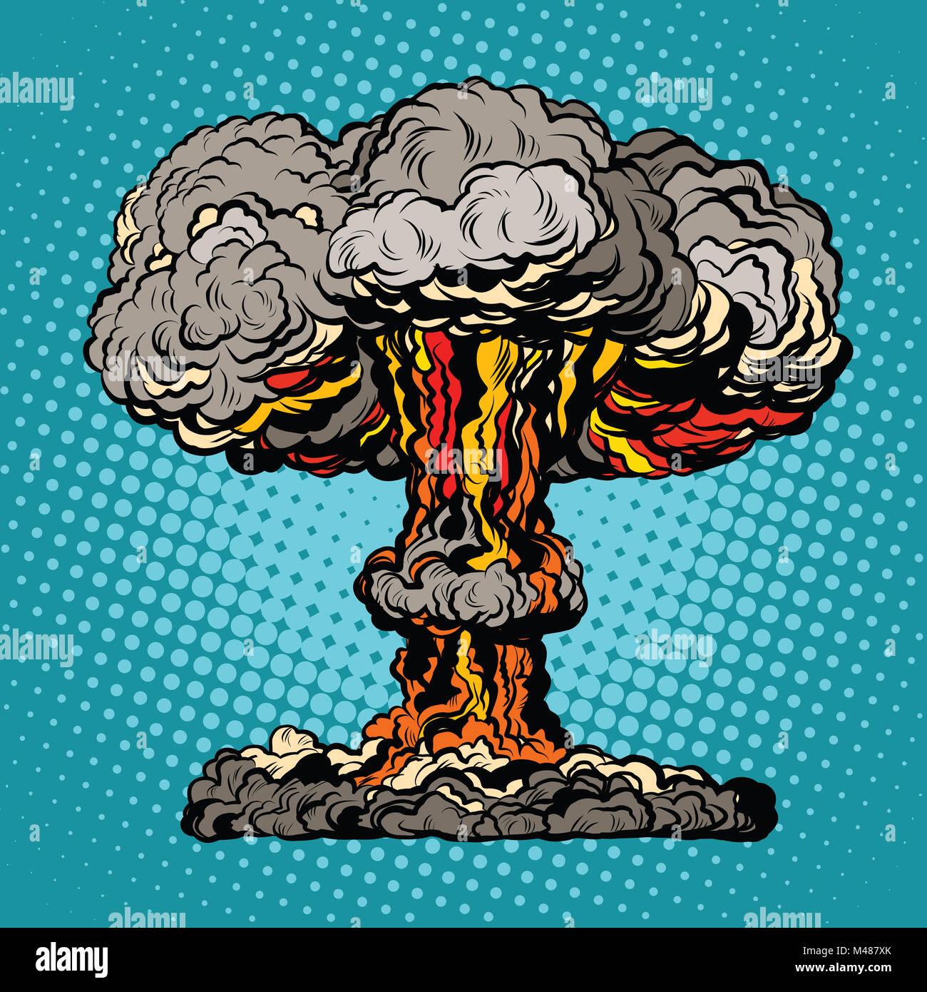 Nuclear explosion radioactive mushroom pop art - Stock Image
