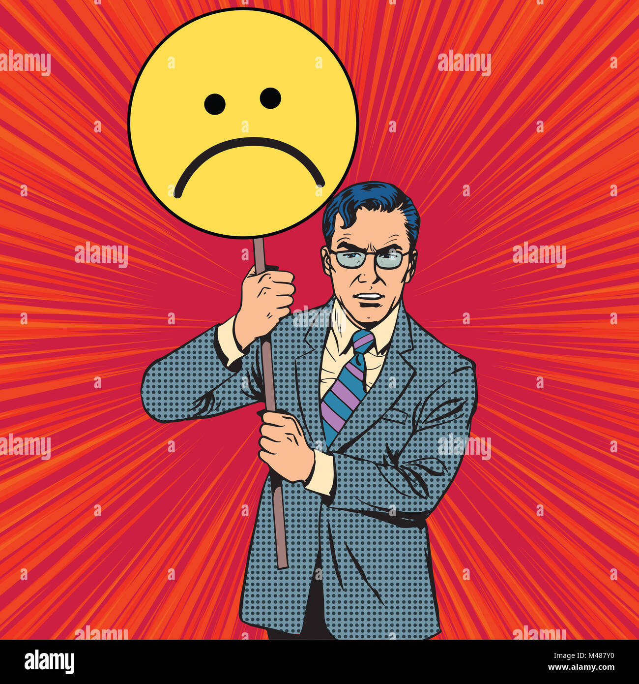 Policy protester poster sad emoticon - Stock Image
