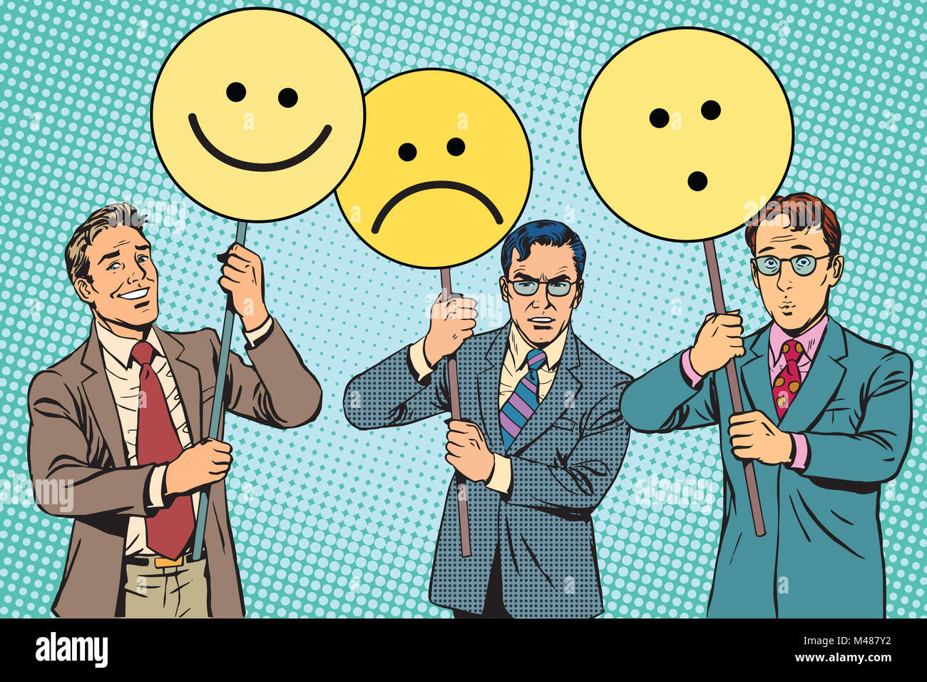 Protesters with placards Emoji joy sadness surprise - Stock Image