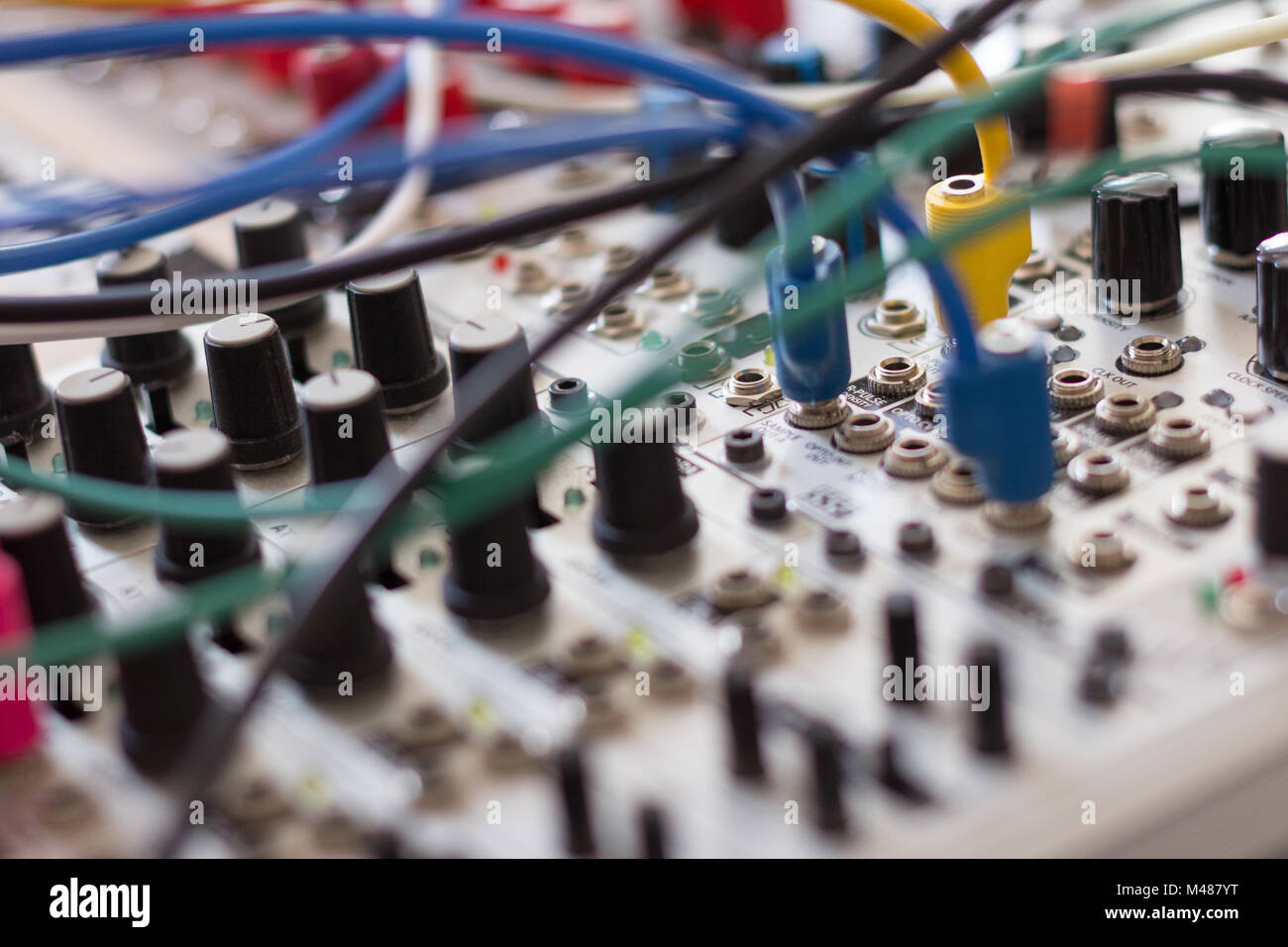 cables and electronic macro, analog synthesizer - Stock Image