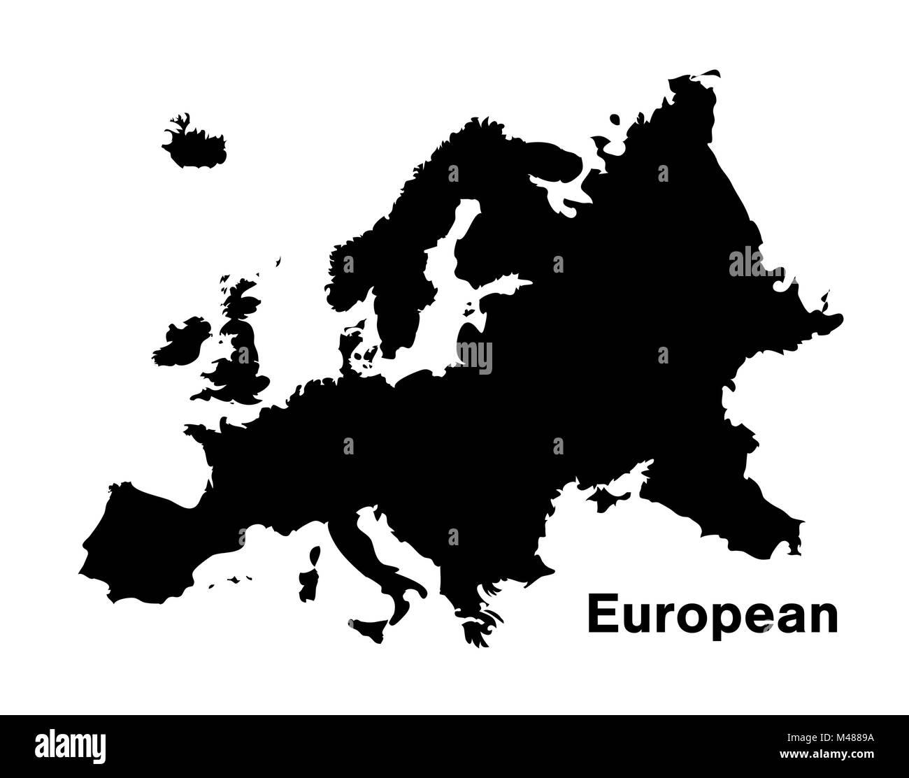 black silhouette european map on white background - Stock Image