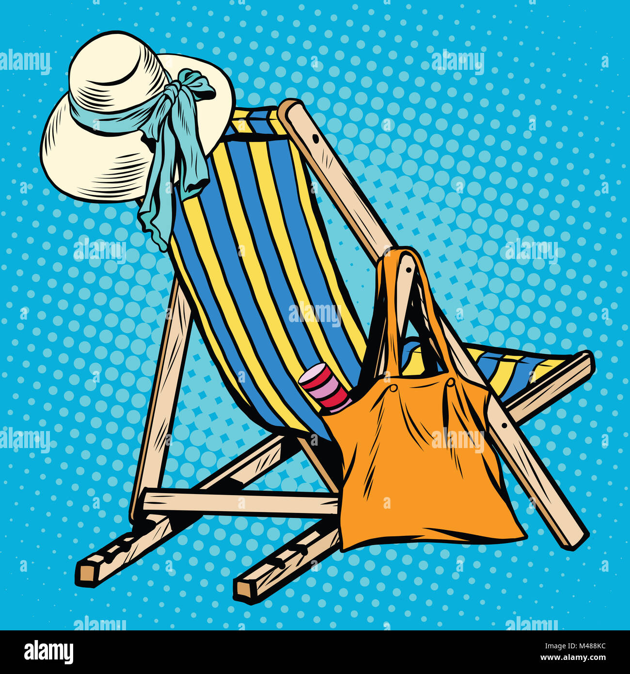 deck chair with beach things women - Stock Image