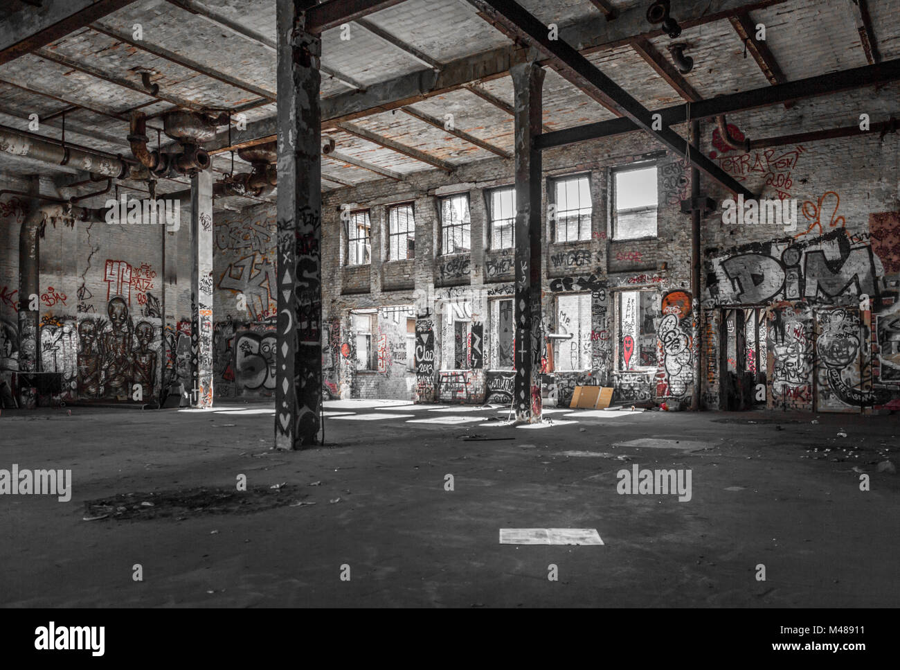 Superior Abandoned Warehouse Interior , Old Building Ruin