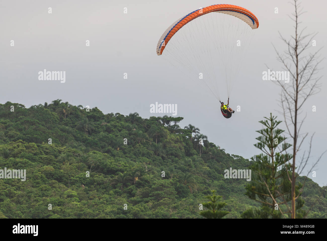 Paragliding at the Brava beach in Florianopolis - Stock Image