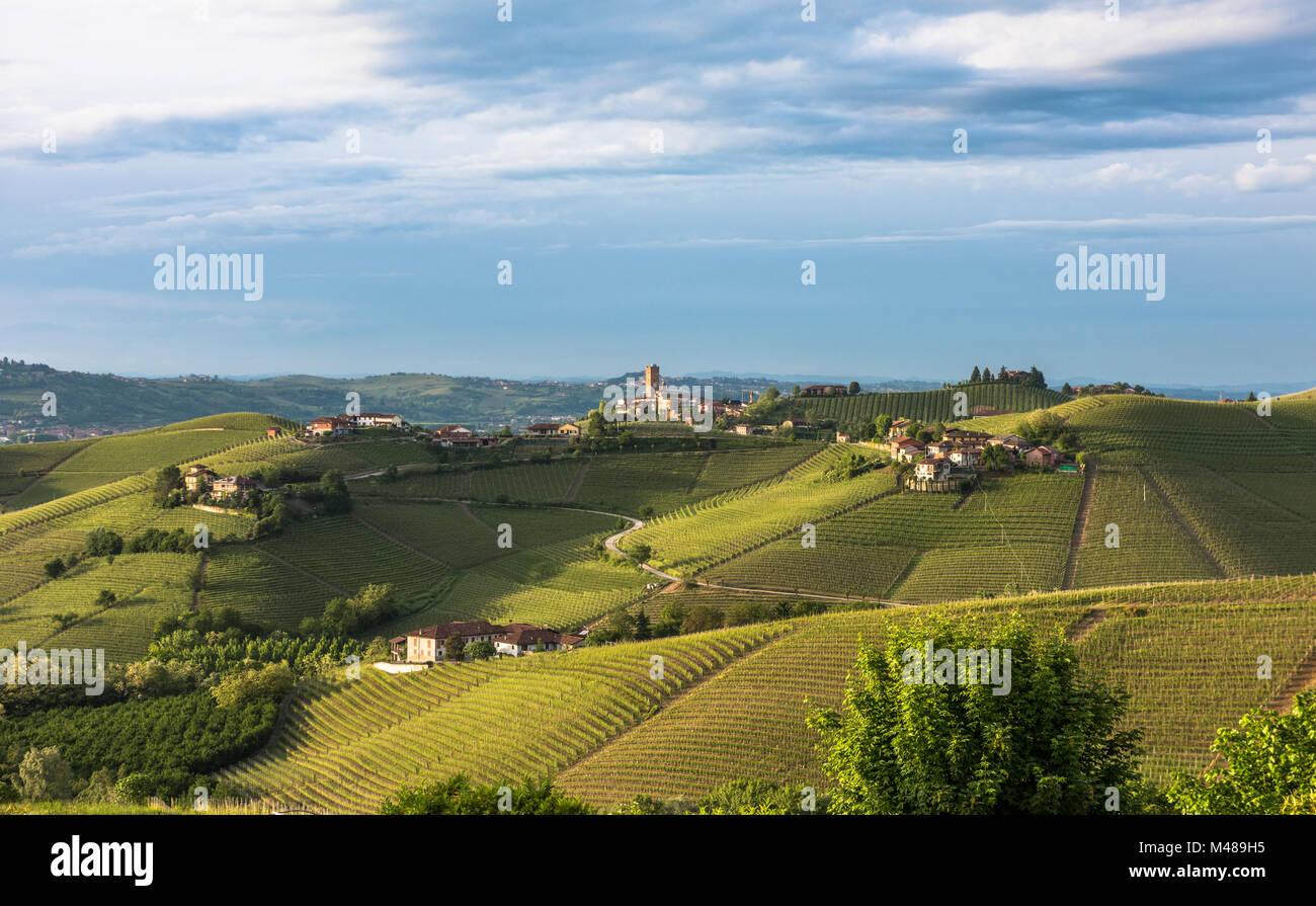 Panorama of Piedmont vineyards and Barbaresco town - Stock Image