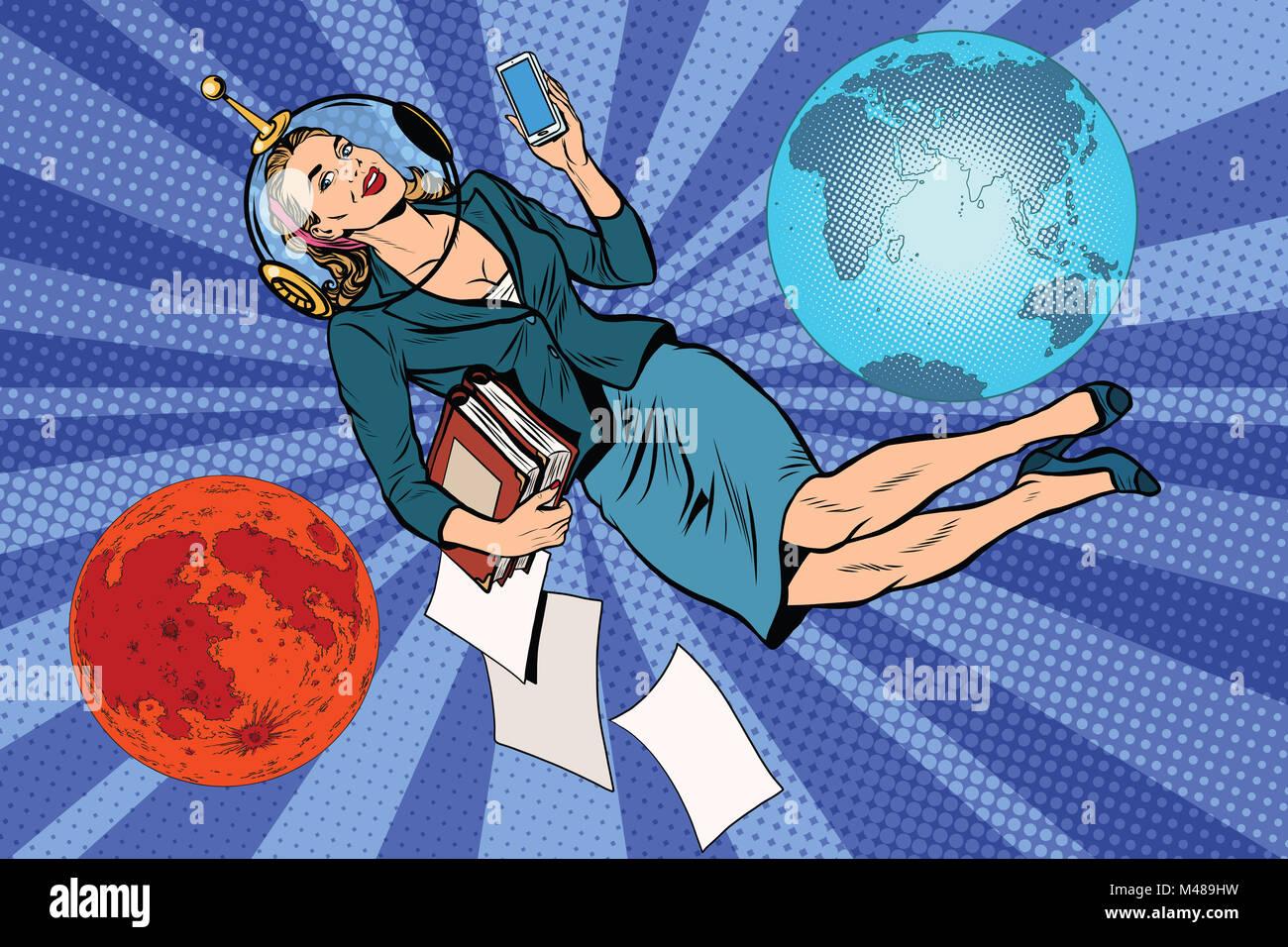 Cosmic business woman astronaut - Stock Image