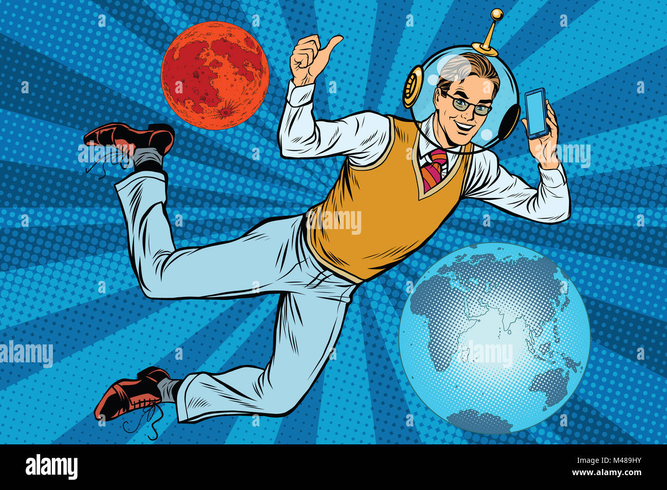 Space businessman with smartphone over the planet Earth and Mars - Stock Image