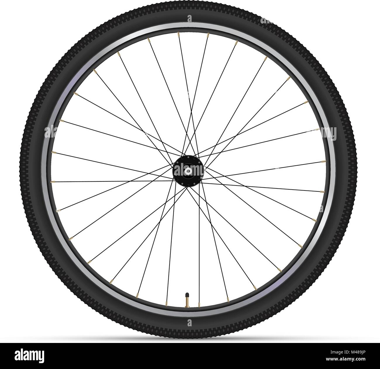 Mountain Bicycle Wheel with Polished Rims. 3D Realistic Vector Illustration - Stock Vector